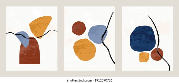 Set 3 illustration vector EPS 10 print hand draw painted abstract shapes geometry contemporary aesthetic bohemian mid century Scandinavian nordic design style