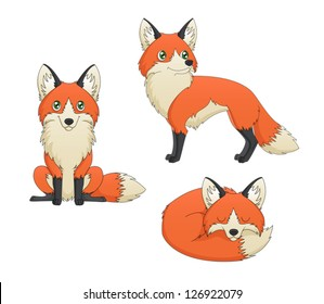 A set of 3 illustrations depicting depicting a cute red fox cartoon in various poses. Eps 8 Vector.