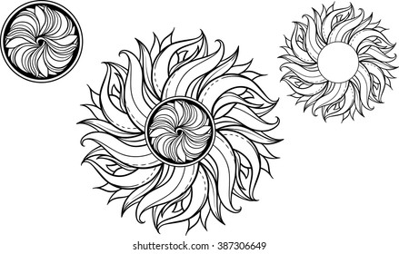 set of 3 images of sun in celtic style