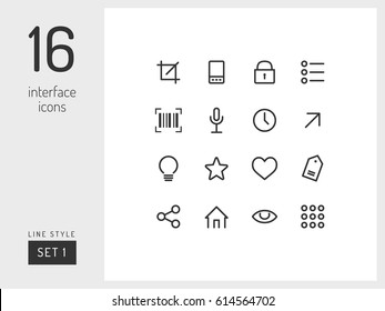 Set 3 of interface icons on the white background. Universal linear icons to use in web and mobile app.