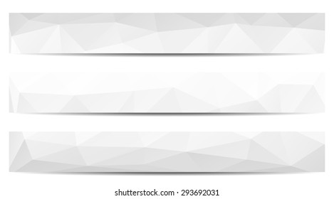 Set of 3 isolated low polygonal greyscale full banners