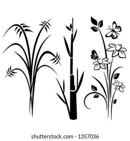 A set of 3 japanese floral designs.
