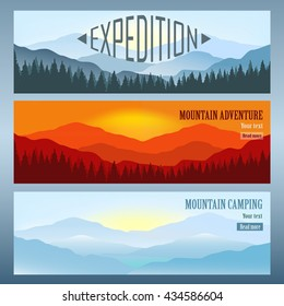 Set of 3 landscapes with mountains banners. Travel agency advertisement. Vector illustration