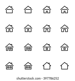 Set 3 of line icons representing house Vector Illustration. House and home simple symbols