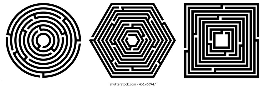 Set of 3 maze / labyrinth on white background. Vector illustration of educational kids game, for children books and leisure. With solution.