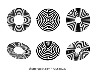 Set of 3 maze labyrinth top view and perspective. Vector illustration Labyrinth with entry and exit