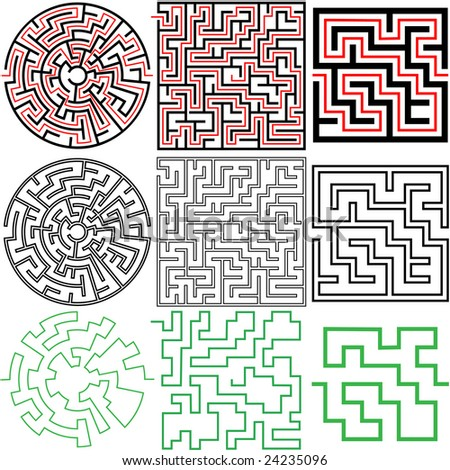 Set 3 Maze Puzzles Solutions Variations Stock Vector Royalty Free