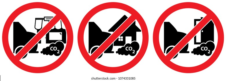 Set of 3 No Parking due to CO2 signs. Signage used to reduce carbon emissions in front of a door or entrance, a house or shop isolated on white background, warning labels vector eps 10.