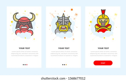 set of 3 on baording (onboarding),welcome, screen warriors samurai, viking, spartan, characters for mobile phone - Vector
