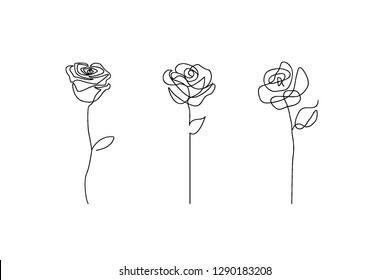 Set of 3 One line rose design