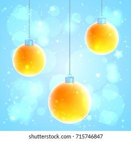 Set of 3 orange Christmas balls on blue sparkled background