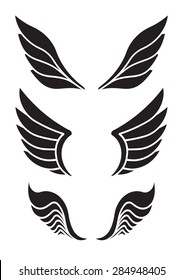 Set of 3 pair of decorative vector wings for your design.