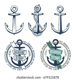 Set of 3 retro anchors with a rope and 2 vintage marine emblem tattoo on a white background. Rubbed texture on a separate layer and can be easily disabled.