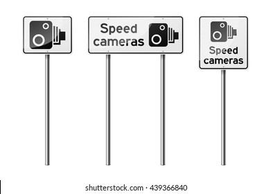 Set of 3 road signs, isolated on white background. Speed-limit cameras. EPS10 vector illustration.