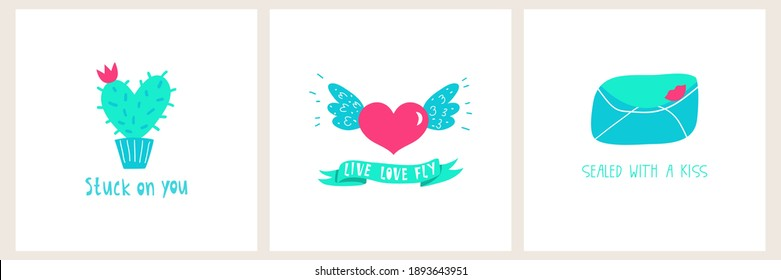 Set of 3 romantic designs. Vector illustrations - envelope with lips print, heart shaped cactus, heart with wings. Sayings Sealed with love, Stuck on you, Live Love Fly. minimalist Valentines card