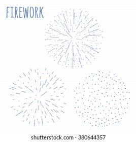 set of 3 scribble festive firework banner bursting in various sparkling shapes hand drawn sketch abstract vector isolated illustration. Birthday new year fete day flash.