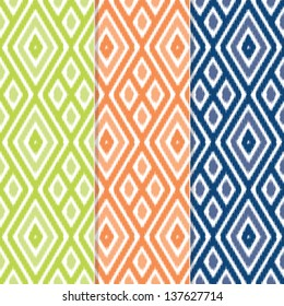 Set of 3 Seamless Diamond Ikat Background Patterns