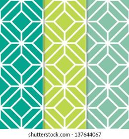 Set of 3 Seamless Geometric Background Patterns