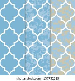 Set of 3 Seamless Moroccan Lattice Background Pattern