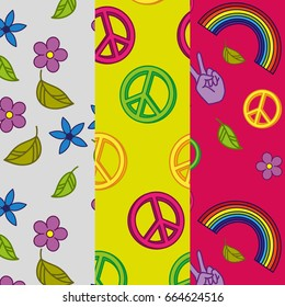 Set of 3 seamless patterns with hippie designs. Pattern in hippie style.