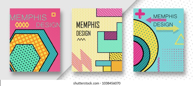 Set of 3 shiny colorful memphis style covers. Can be used on flyers banners web. Trendy memphis 80's and 90's design. Geometric grunge patterns. Fashion minimal pop memphis backgrounds. Vector EPS 10.