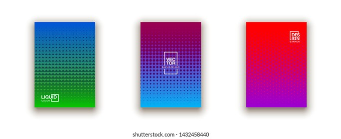set of 3 Social media duotone gradient background. Social network stories soft colorful theme pack. Rainbow graphic display, wallpaper. vibrant mobile app design set Blending bright duo color template