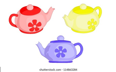A set of 3 tea pots.