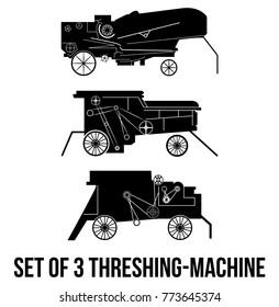 Set of 3 Threshing-machine