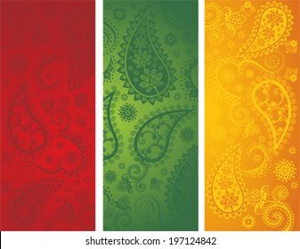 Set of 3 traditional colorful Indian banners with paisley pattern
