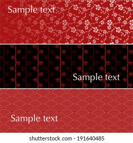 Set of 3 traditional Japanese pattern banners with space for text