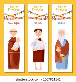 Set of 3 universal greeting cards  and bookmarks with Saint Anthony, Saint John, Saint Peter (Santo Antonio, Sao Joao, Sao Pedro). Template. Vector illustration.