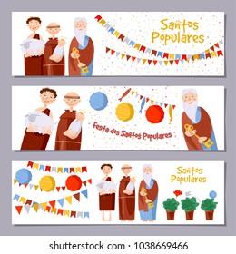 "Set of 3 universal horizontal banners for Portuguese festival ""Santos Populares"" ( Popular Saints' ). Template. Vector illustration."