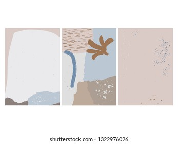 Set of 3 vector abstract artboards, hand drawn art backgrounds