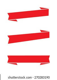 Set of 3 vector banner and ribbon design elements