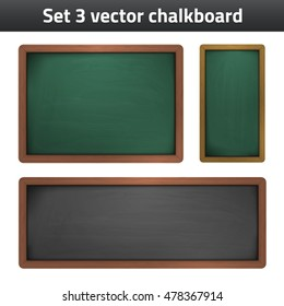 set 3 vector chalkboard school supplies vector icon. Isolated blackboard with empty space for text for print or website design. Detailed illustration.