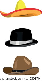 Set of 3 vector hat illustrations sombrero bowler cowboy leather