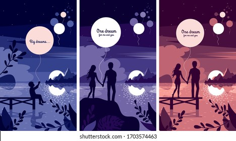 Set of 3 vector illustrations of night landscapes with a lonely child launching a balloon into the sky, a  couple in love holding luminous lantern in their hands by the sea. Big dream. Poster, card.