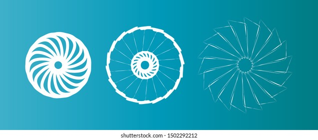 Set of 3 vector rotor-style elements. Symmetric circle mandala shapes on a blue-turquoise gradient background. Each element is located on a separate layer.