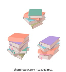 Set of 3 vertical stacks of books isolated on white background.
