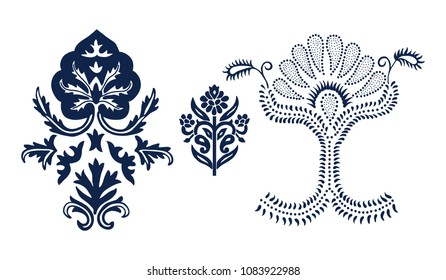 Set of 3 wood block printed floral elements for damask patterns. Traditional oriental ethnic motifs of India, monochrome. For your design.