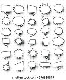 set of  30 blank effects template comic speech bubbles halftone dot background style pop art.