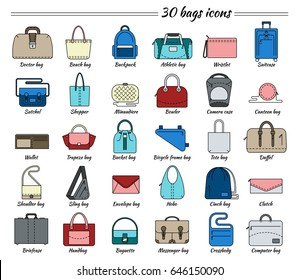 Set of 30 colorful pictures in linear style. Different types of bag. Women's and men's handbag, duffel, purse, cases, clutch, satchel, suitcase, backpack etc. Vector illustration.