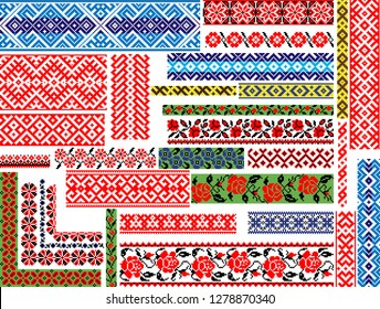 Set of 30 editable colorful seamless ethnic patterns for embroidery stitch, floral and geometrsc. Borders and frames.