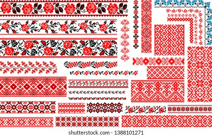 Set of 30 editable colorful seamless ethnic patterns for embroidery stitch. Floral and geometric ornaments.