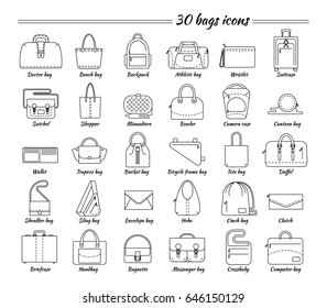 Set of 30 line icons. Different types of bag. Women's and men's handbag, duffel, purse, cases, clutch, satchel, suitcase, backpack etc. Vector illustration.