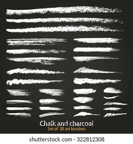 A set of 30 pastel brush strokes created with chalk and charcoal. Artistic brushes different densities. Saved palette file brushes. Hand drawn illustration.