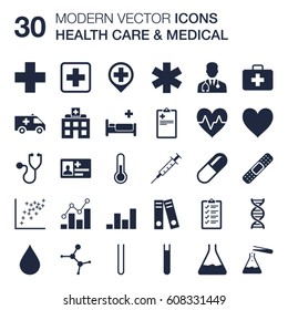 Set of 30 quality icons about health care and medical (shapes of stethoscope, doctor, medicine cross, star of life, ambulance, first aid kit, DNA, plaster, syringe) with flat design