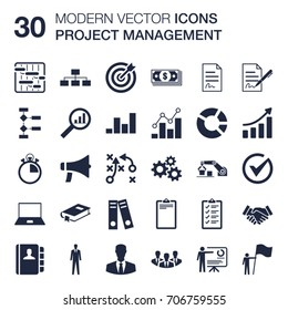 Set of 30 quality icons about project management and business administration (shapes of gantt planning, WBS, OBS, human resources, cost, time, quality, schedule, budget) with flat design