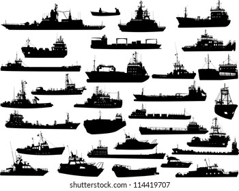 Set of 30 (thirty) silhouettes of sea yachts, towboat, battleship and ships