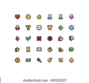 Set of 30 tiny pixel perfect 8-bit icons